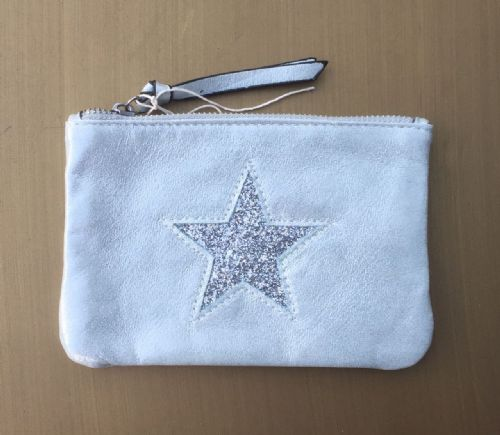 Faux Suede Star Purse/Make Up Bag - Aqua
